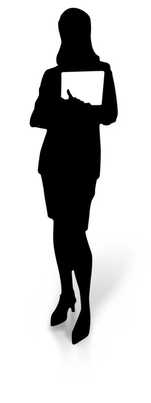 Clipart - Woman Silhouette Holding Document