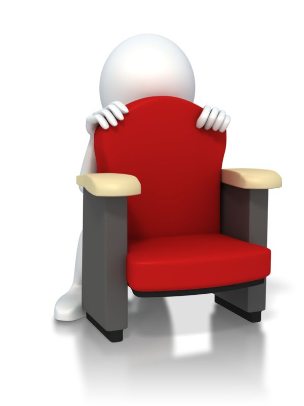 Clipart - Figure Hiding Scared Behind Chair