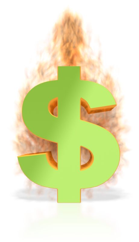 Clipart - Dollar Sign on Fire