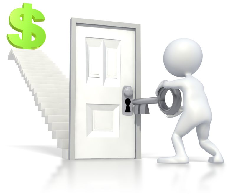 Clipart - Unlocking Stairs Financial Freedom