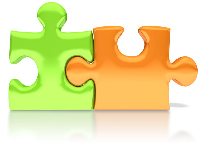 Clipart - Orange Green Puzzle Pieces Connected