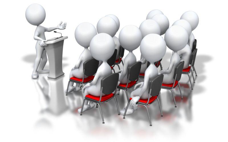 Clipart - Stick Figure Podium Speech Group