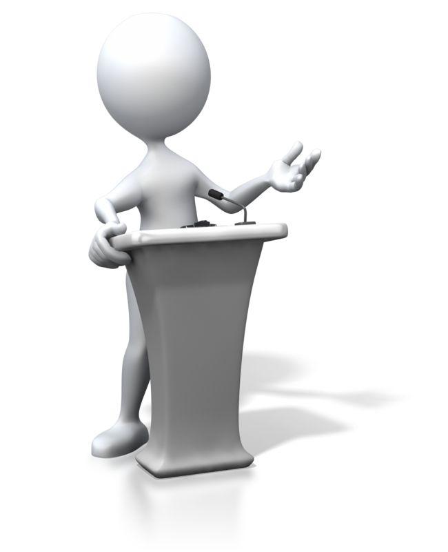 Clipart - Stick Figure Podium Speaking