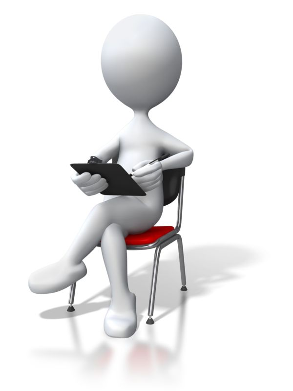 Clipart - Stick Figure Sitting In Chair Clipboard