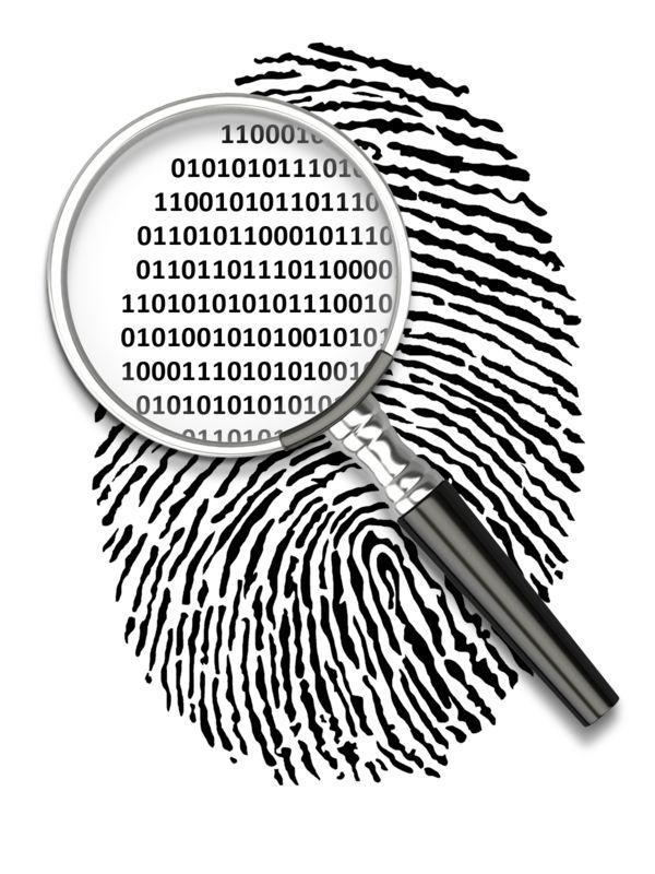 Clipart - Magnify Fingerprint Binary Code
