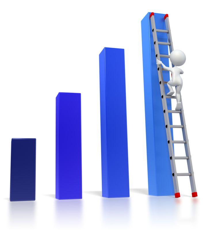 Clipart - Bar Graph Ladder Climb