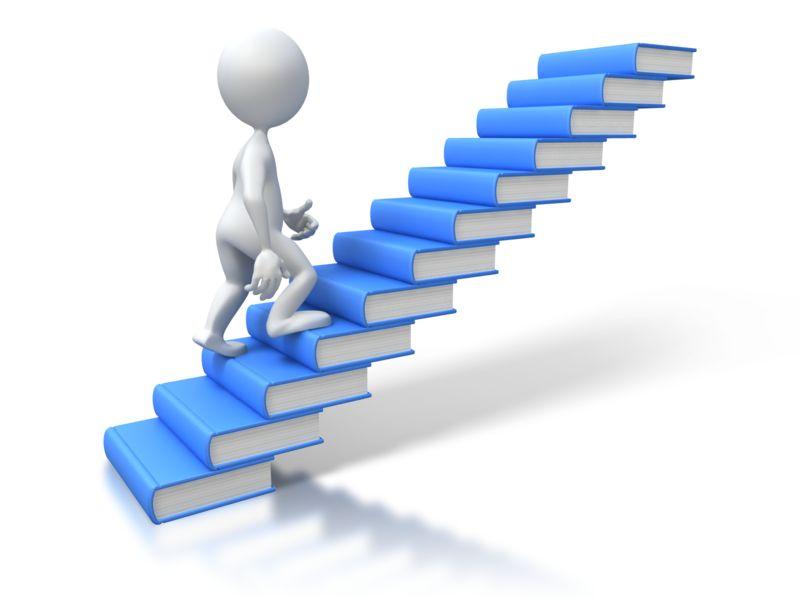 Clipart - Stick Figure Walking Up Books