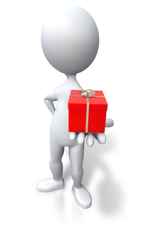 Clipart - Stick Figure Giving Red Gift