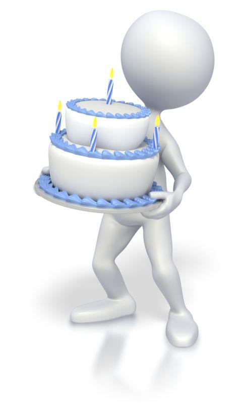 Clipart - Stick Figure holding Birthday Cake