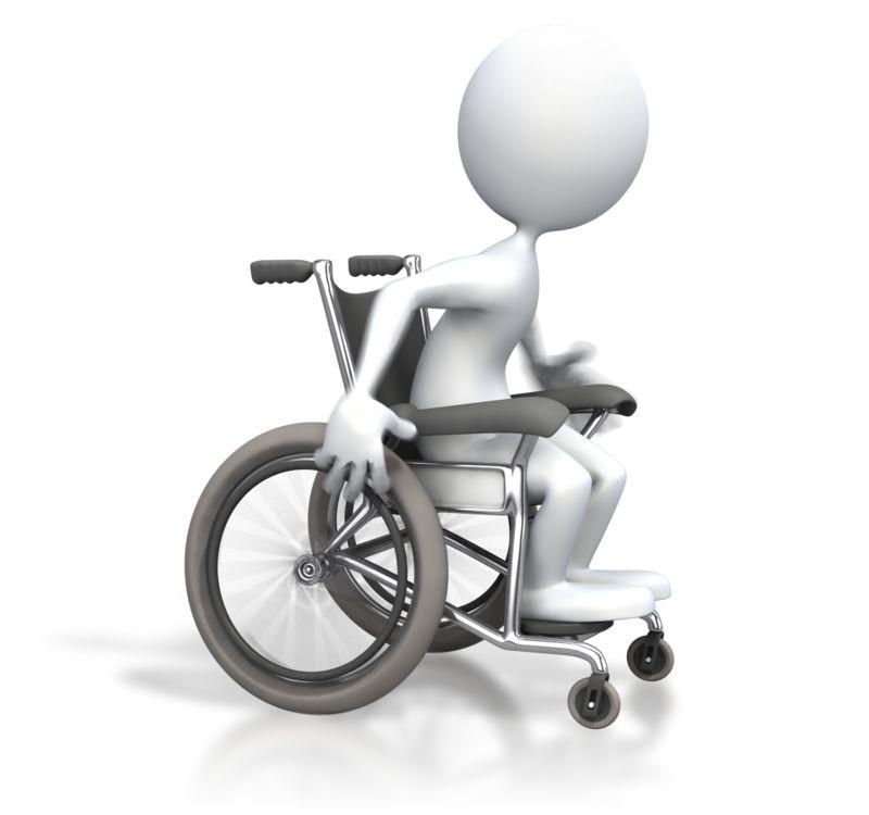 Clipart - Stick Figure Racing Wheelchair
