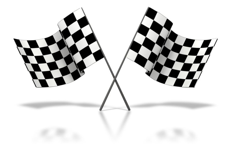 Clipart - Two Checkered Flags Waving