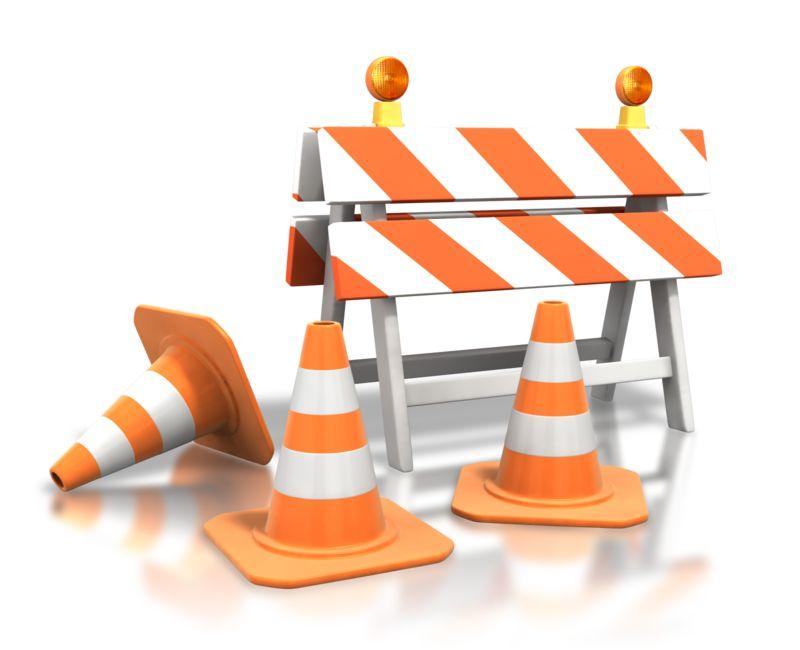 Clipart - Construction Roadblock Cones