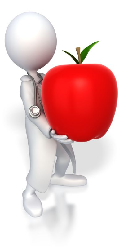 Clipart - Doctor Holding Apple