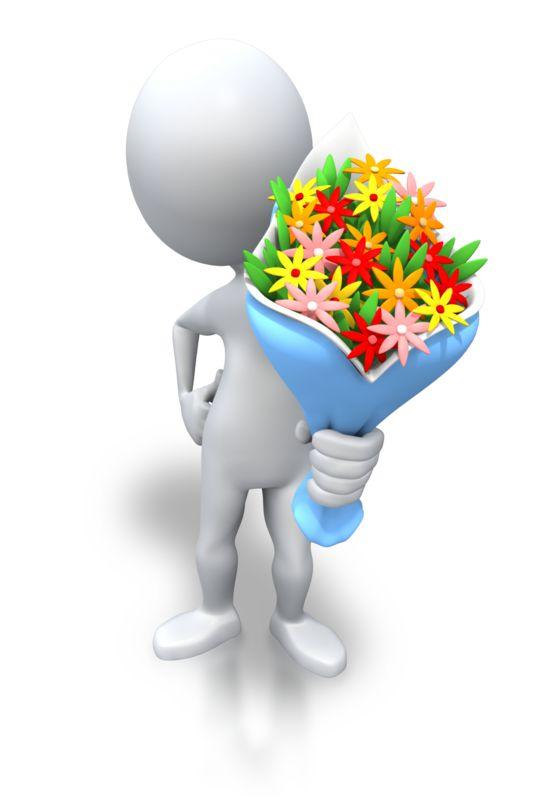 Clipart - Stick Figure Giving Bouquet Flowers