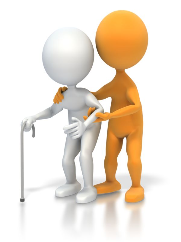 Clipart - Helping an Elderly Person