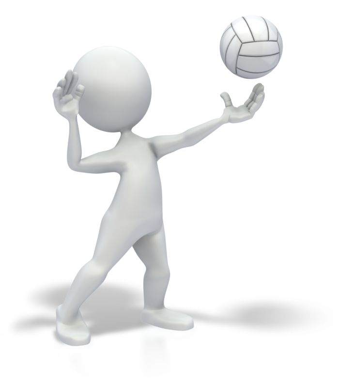 Clipart - Stick Figure Serve Volleyball