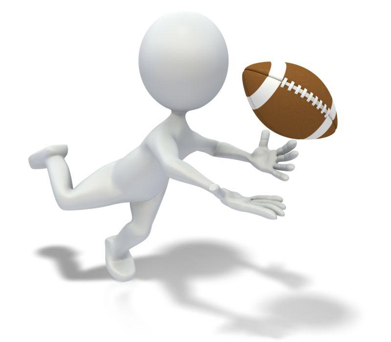 Clipart - Stick Figure Catching Football Pass