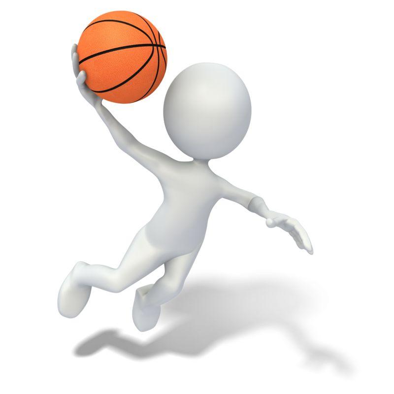 Clipart - Stick Figure Slam Dunking Basketball