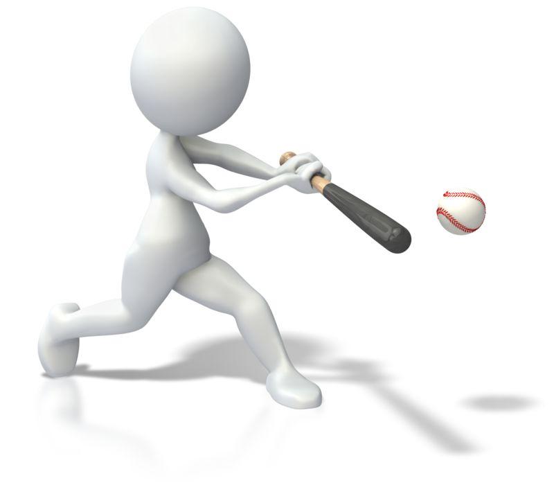 Clipart - Stick Figure Swinging Bat Baseball