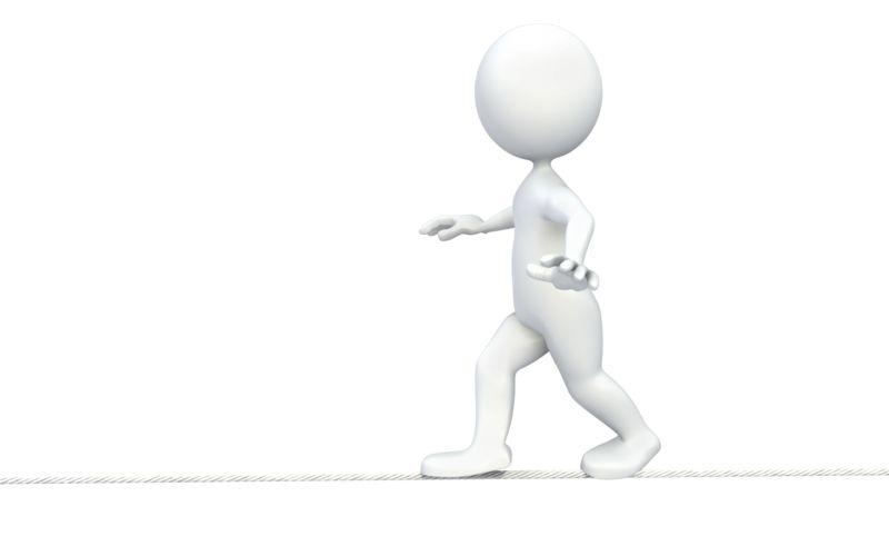 Clipart - Stick Figure Walking Tightrope