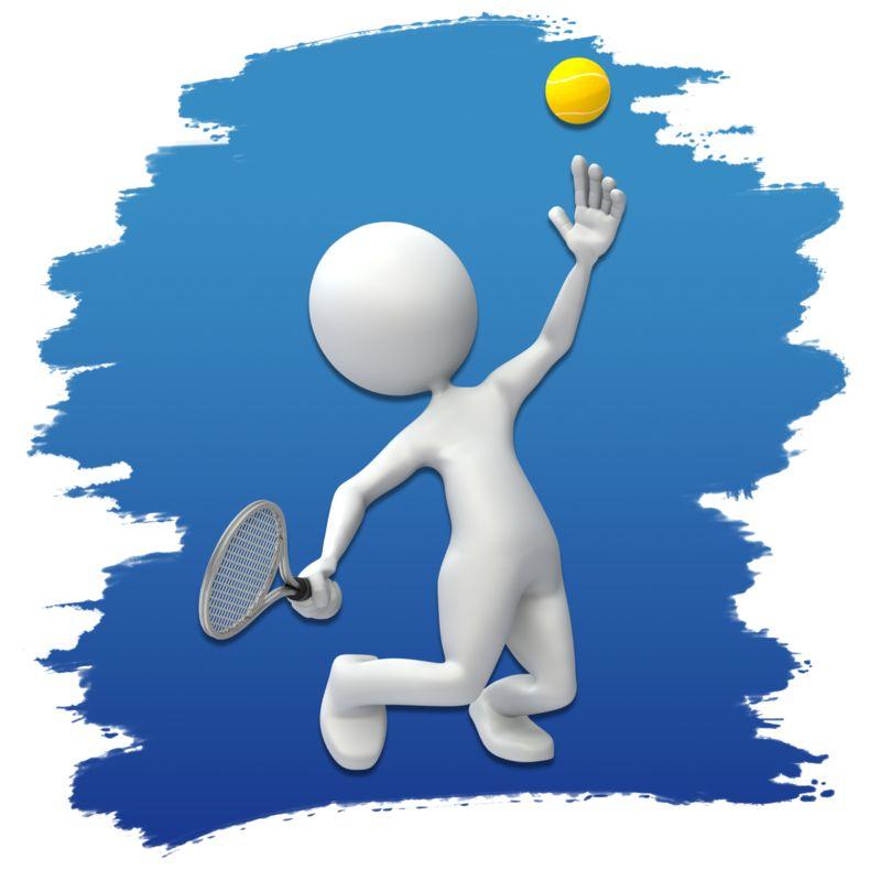 Clipart - Stick Figure Tennis Icon
