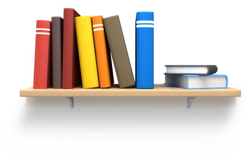 Clipart - Books On Wooden Bookshelf