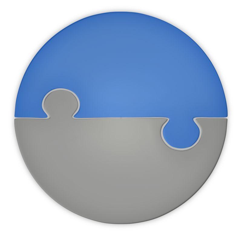 Clipart - Puzzle Piece Pie Chart Two Halfs