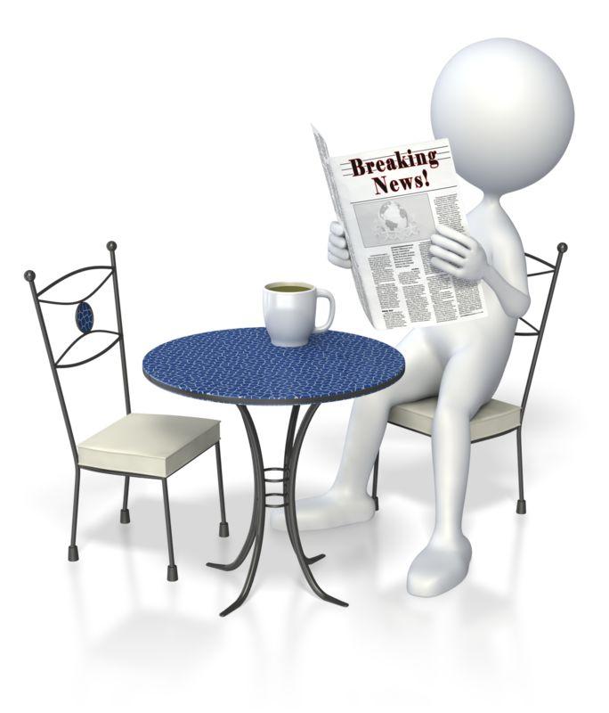 Clipart - Stick Figure Coffee Newspaper