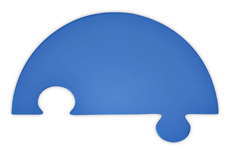 Clipart - Puzzle Piece Half Blue