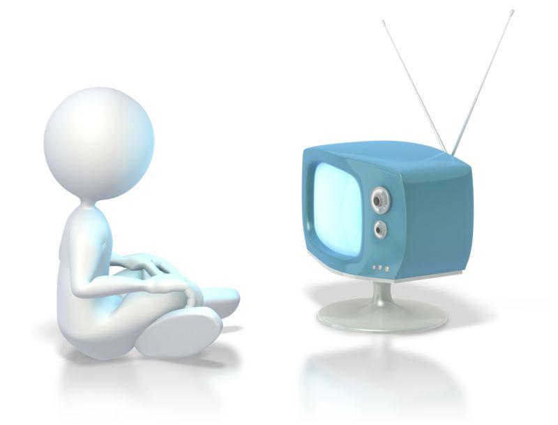 Clipart - Stick Figure Watching Tv