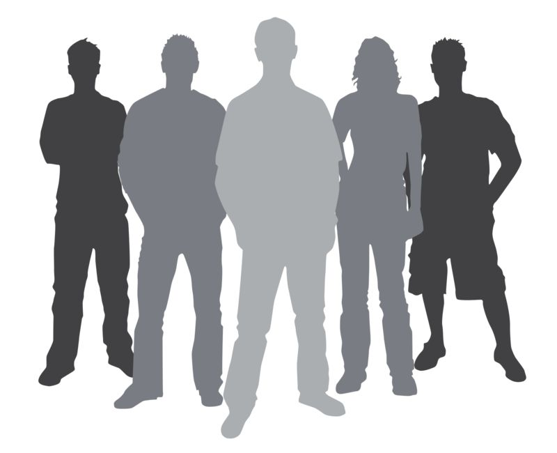 Clipart - Group Casual People Silhouette
