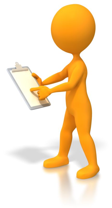 Clipart - Stick Figure Pointing At Clipboard
