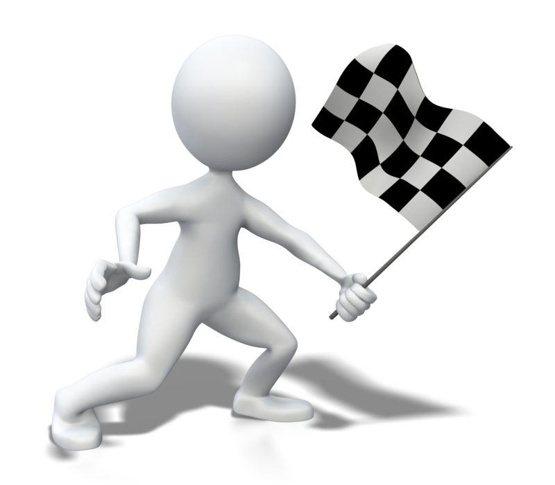 Clipart - Stick Figure Waving Checkered Flag