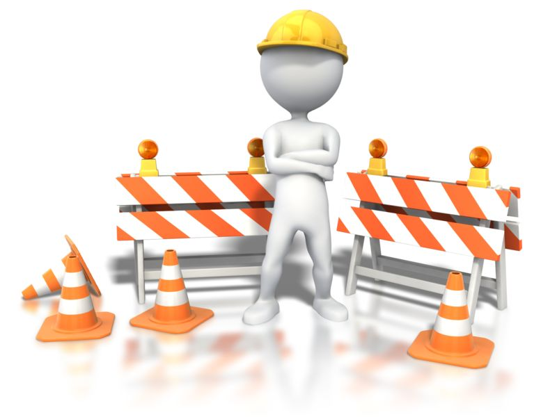 Clipart - Stick Figure Standing Construction Site