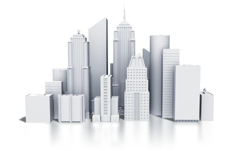 Clipart - City Downtown Buildings Monotone