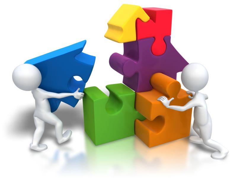 Clipart - Puzzle Pieces House Teamwork