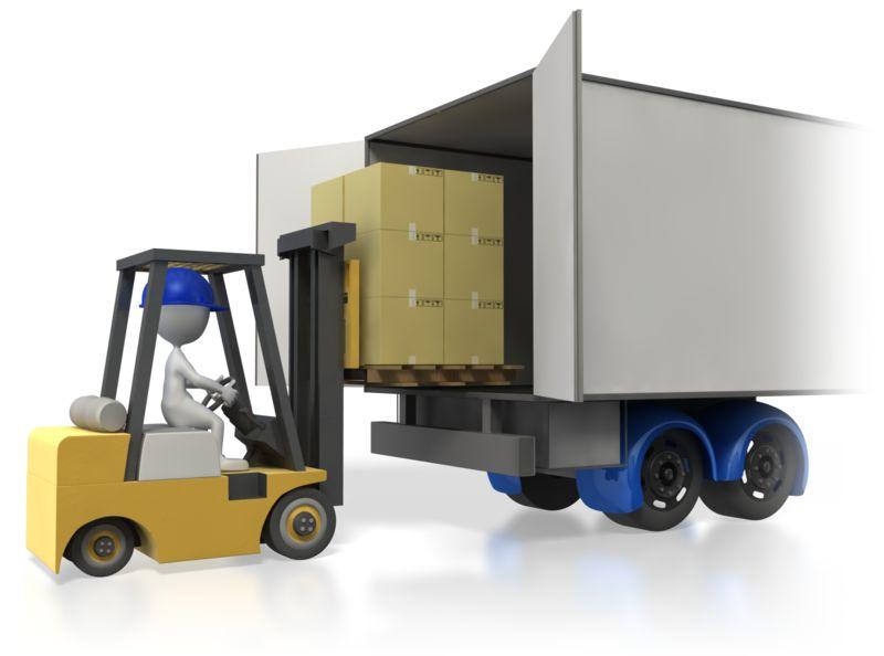 Clipart - Forklift Loading Truck Trailer