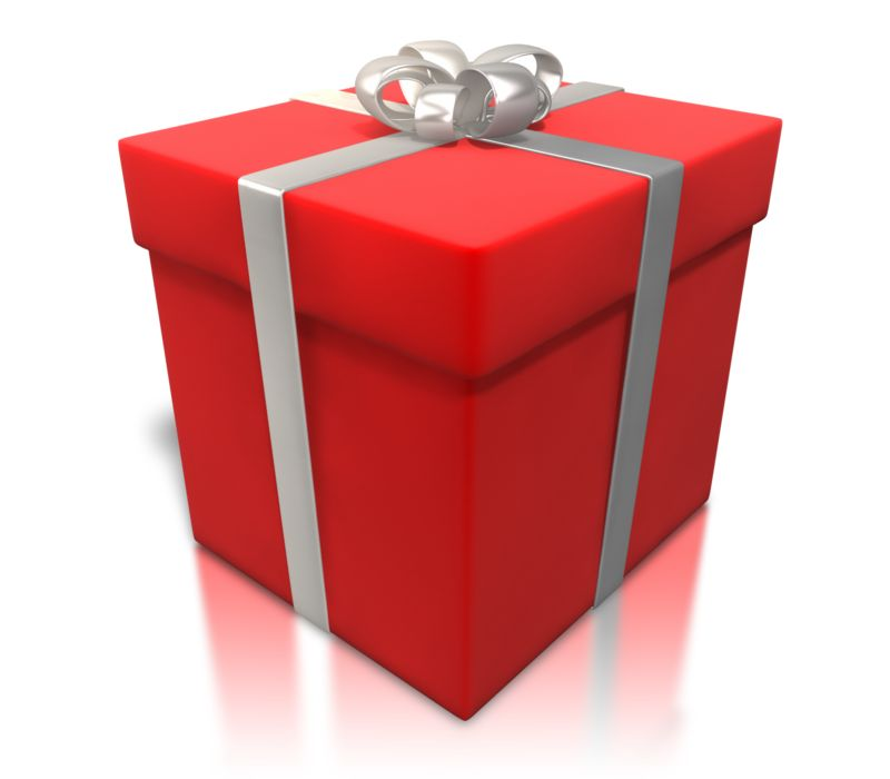 Clipart - Red Gift Shiny Wrapping