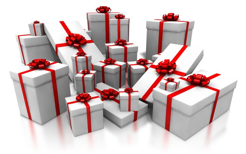 Clipart - Pile White Gifts with Red Decor
