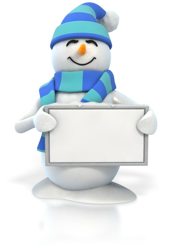 Clipart - Winter Snowman Holding Blank Sign