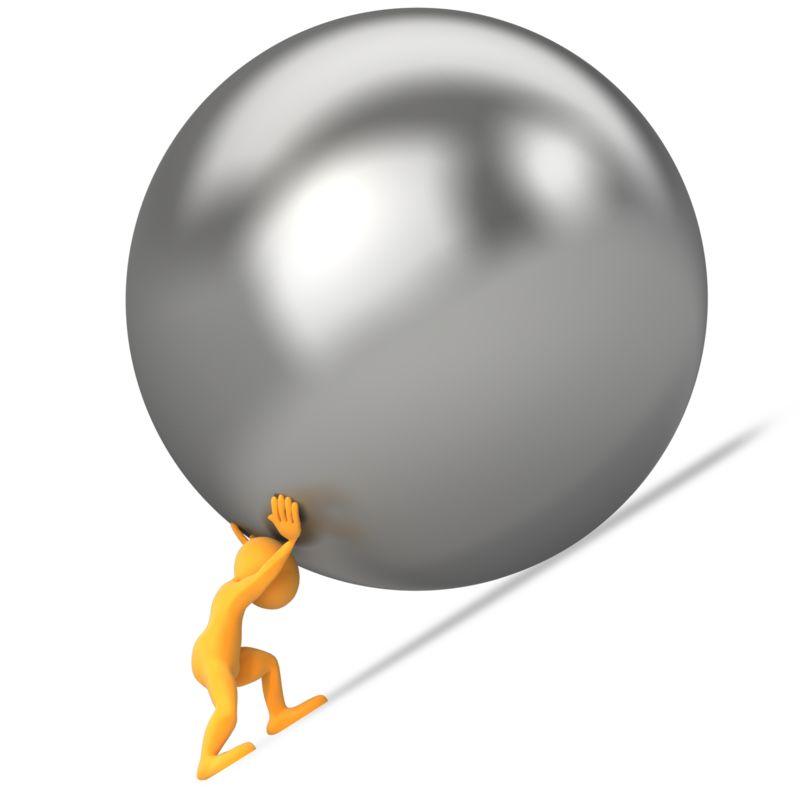 Clipart - Pushing Ball Uphill