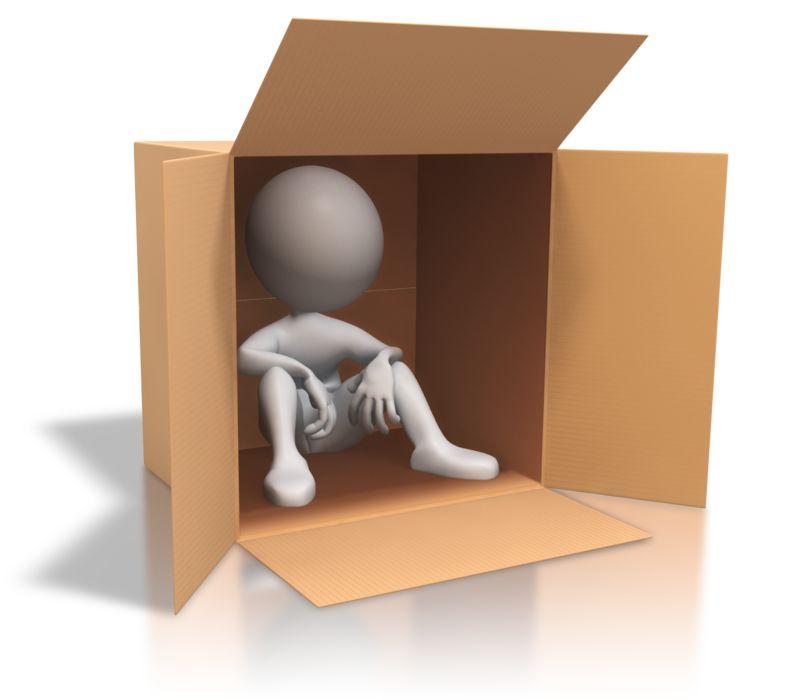 Clipart - Stick Figure Cardboard Box Homeless