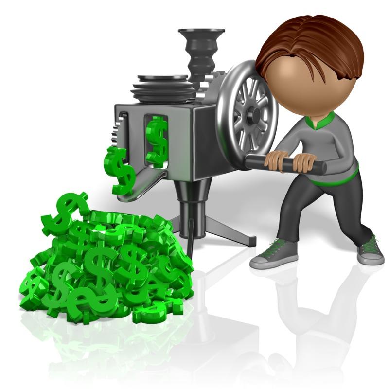 Clipart - Stick Figure Cranking Money