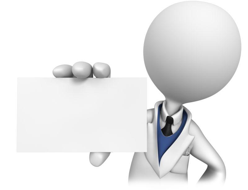 Clipart - Stick Figure Dentist Holding Blank Card