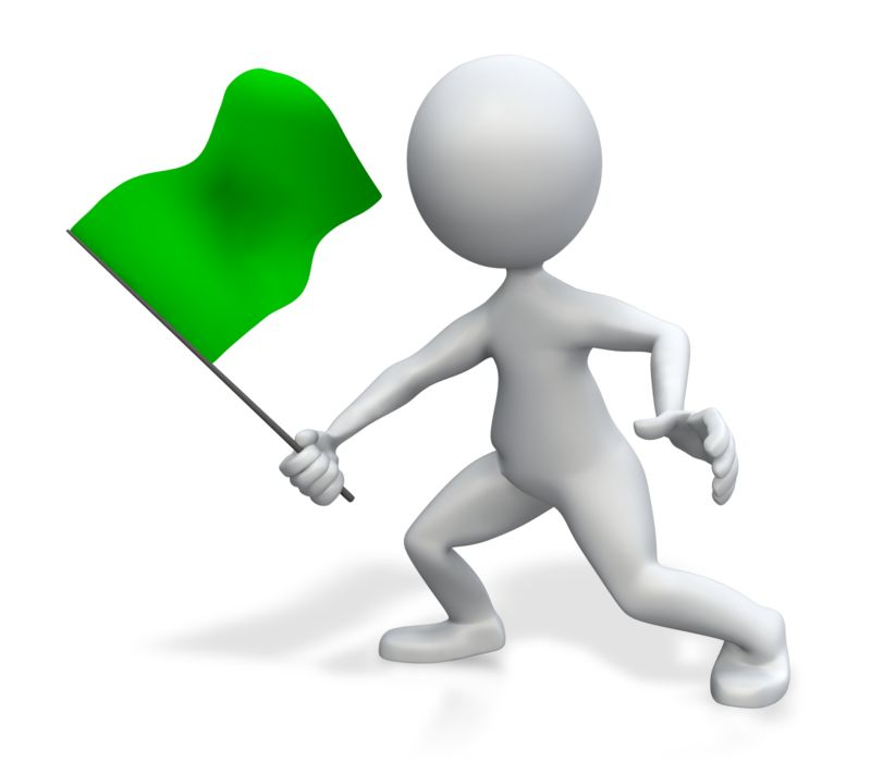 Clipart - Figure Holding Green Flag