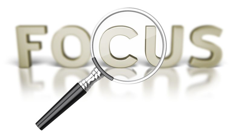 Clipart - Focus Word Magnifying Glass