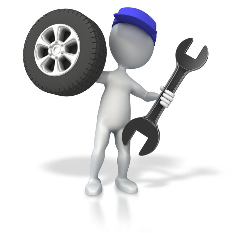 Clipart - Mechanic with Tire and Wrench