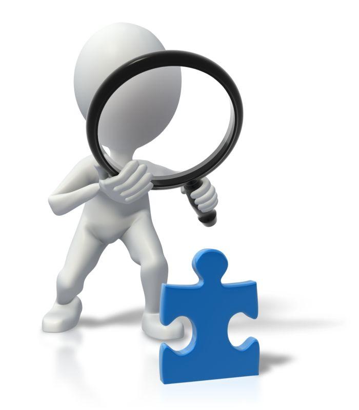 Clipart - Stick Figure Magnify Solve Puzzle