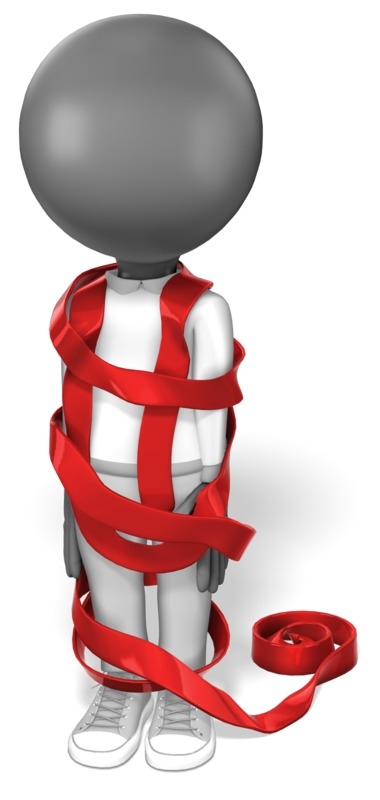 Clipart - Stick Figure Wrapped in Red Tape
