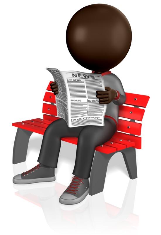 Clipart - Stick Figure Reading Newspaper